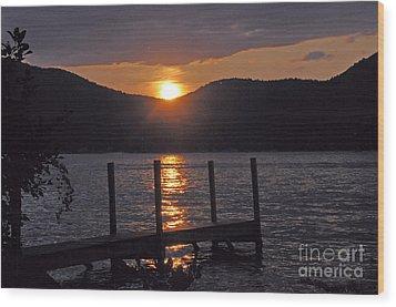 Lake George New York Sunset Wood Print by Cindy Lee Longhini