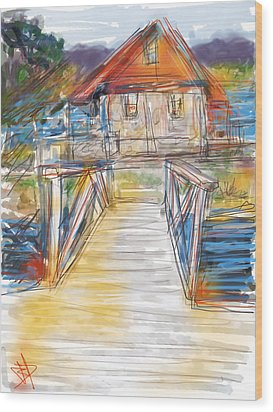 Lake House Wood Print by Russell Pierce