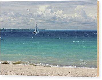 Wood Print featuring the photograph Lake Huron Sailboat by Meta Gatschenberger
