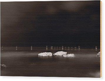 Lake Ice Wood Print by Steve Gadomski