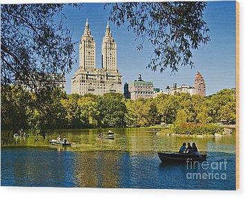 Lake In Central Park Wood Print by Allan Einhorn