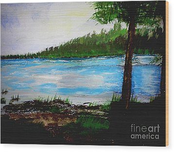 Lake In Virginia The Painting Wood Print