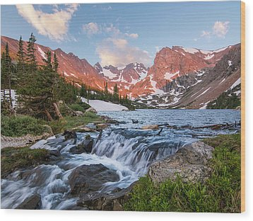 Wood Print featuring the photograph Lake Isabelle Sunrise by Aaron Spong