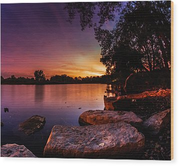 Wood Print featuring the photograph Lake Kirsty Twilight by Chris Bordeleau