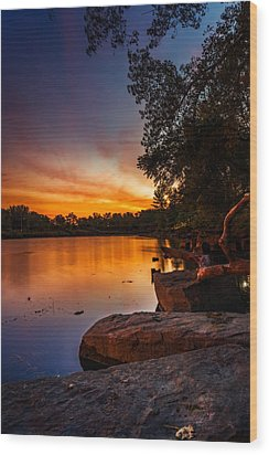 Wood Print featuring the photograph Lake Kirsty Twilight - Vertical by Chris Bordeleau