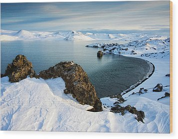 Wood Print featuring the photograph Lake Kleifarvatn Iceland In Winter by Matthias Hauser