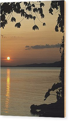 Lake Lago And Sunset Wood Print by Don Kreuter