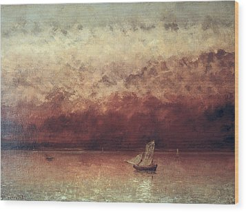 Lake Leman With Setting Sun Wood Print by Gustave Courbet
