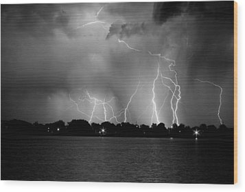 Lake Lightning Two Bw Wood Print by James BO  Insogna