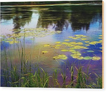 Lake Lilly Monet Style Wood Print by Louise Lavallee