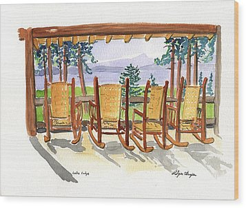 Lake Lodge Wood Print by Rodger Ellingson