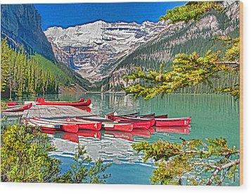 Lake Louise Wood Print by Dennis Cox WorldViews
