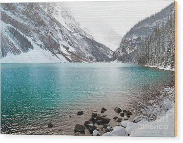 Lake Louise Mountain Snow Forest Landscape Wood Print by Andrea Hazel Ihlefeld
