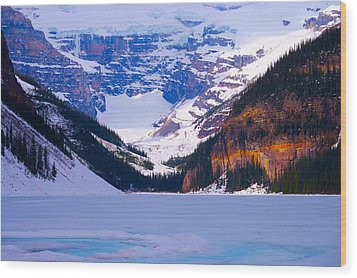 Lake Louise Wood Print by Paul Kloschinsky