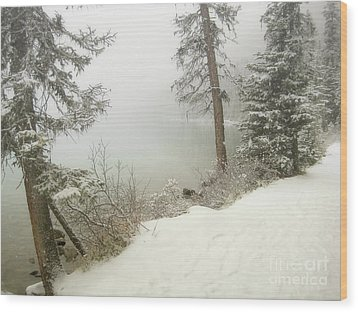Wood Print featuring the photograph Lake Louise Shore by Andrea Hazel Ihlefeld