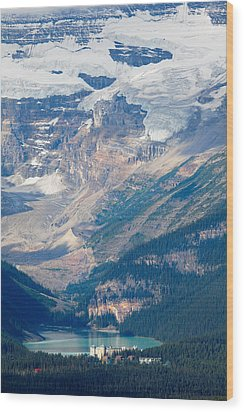 Lake Louise With The Victoria Glacier Wood Print by George Oze