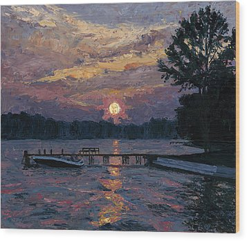 Lake Martin Sunset Wood Print by Tyler Smith