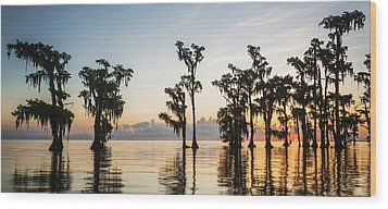 Lake Maurepas Sunrise Wood Print by Andy Crawford