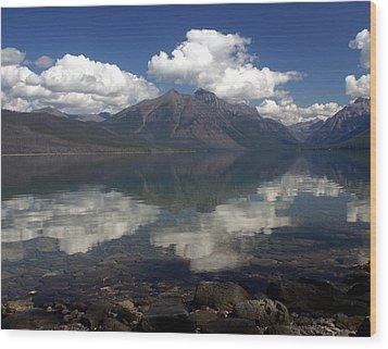 Lake Mcdonald Reflection Glacier National Park Wood Print by Marty Koch