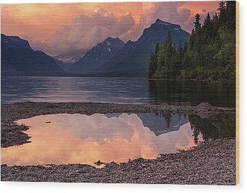 Lake Mcdonald Sunset Wood Print by Mark Kiver
