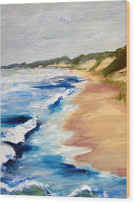 Lake Michigan Beach With Whitecaps Detail Wood Print by Michelle Calkins