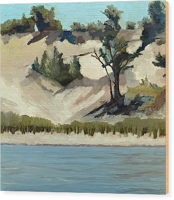 Lake Michigan Dune With Trees And Beach Grass Wood Print by Michelle Calkins