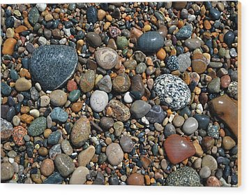 Wood Print featuring the photograph Lake Michigan Stone Collection by Michelle Calkins
