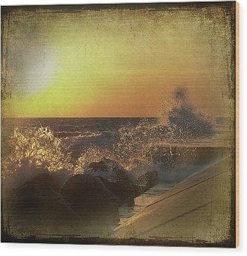 Lake Michigan Sunset Wood Print by Maria Dryfhout