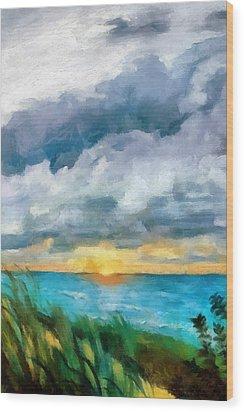 Lake Michigan Sunset Wood Print by Michelle Calkins