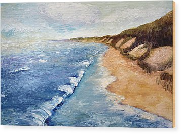 Lake Michigan With Whitecaps Ll Wood Print by Michelle Calkins