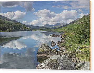 Wood Print featuring the photograph Lake Mymbyr And Snowdon by Ian Mitchell