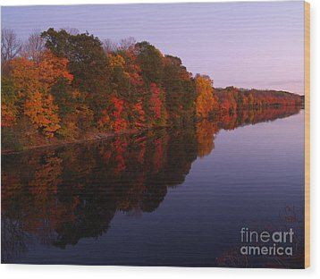 Lake Nockamixon Twilight Reflection In Autumn Wood Print