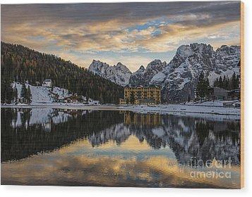 Wood Print featuring the photograph Lake Of Misurina by Yuri Santin