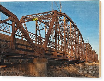 Lake Overholser Bridge Wood Print by Lana Trussell
