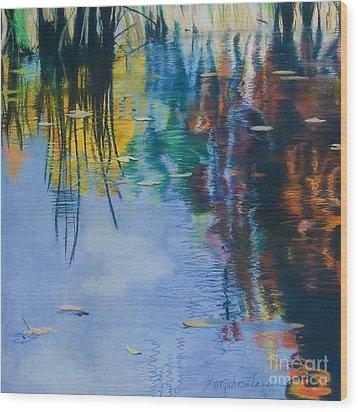 Lake Pearl Reflections Wood Print by Lucinda  Hansen