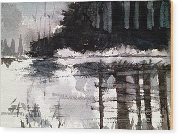 Wood Print featuring the painting Lake Placid Black And White Study by Charlie Spear