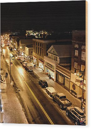 Wood Print featuring the photograph Lake Placid New York - Main Street by Brendan Reals