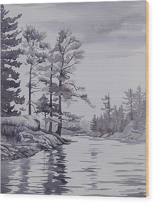 Lake Reflections Monochrome Wood Print by Debbie Homewood