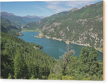 Wood Print featuring the pyrography Lake San Cristobal by Aaron Spong