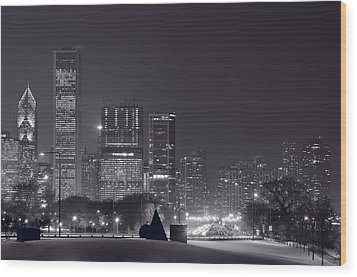 Lake Shore Drive Chicago B And W Wood Print by Steve Gadomski