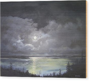 Lake Shore Moonscape  Wood Print by Ken Ahlering