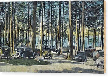 Lake Shore Park - Gilford N H Wood Print by Mim White