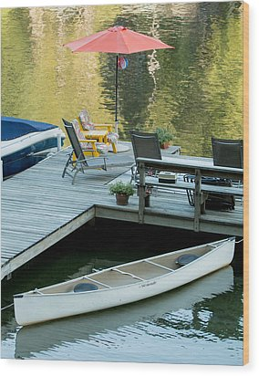 Lake-side Dock Wood Print