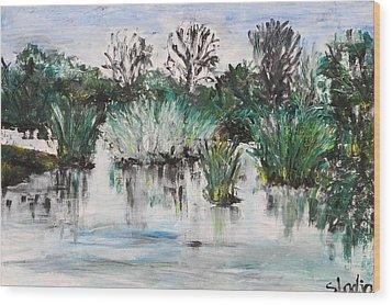 Wood Print featuring the painting Lake by Sladjana Lazarevic