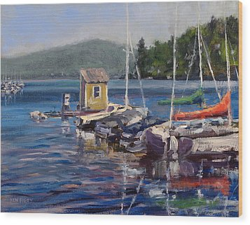 Lake Sunapee Boat Dock Wood Print