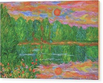 Lake Sunset Wood Print by Kendall Kessler