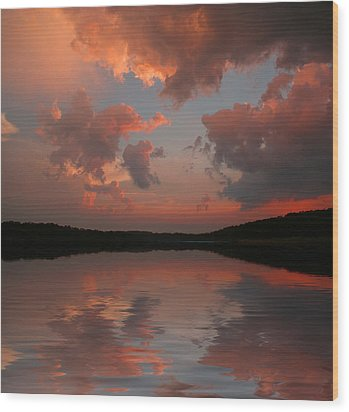 Wood Print featuring the photograph Lake Sunset by Rick Friedle