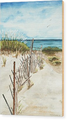 Lake Superior Munising Wood Print by Sandra Strohschein