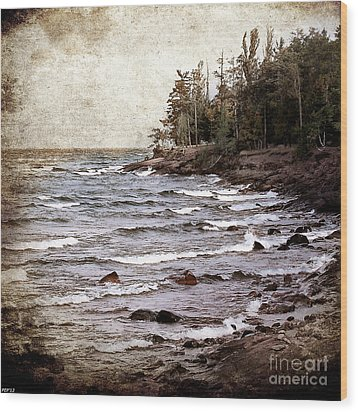 Wood Print featuring the photograph Lake Superior Waves by Phil Perkins
