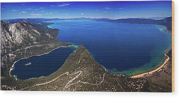 Wood Print featuring the photograph Lake Tahoe Aerial Panorama - Emerald Bay Aerial by Brad Scott